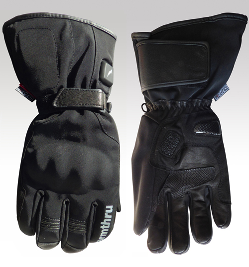 Thermo Battery Heated Motorcycle Gloves, Breathable, Black